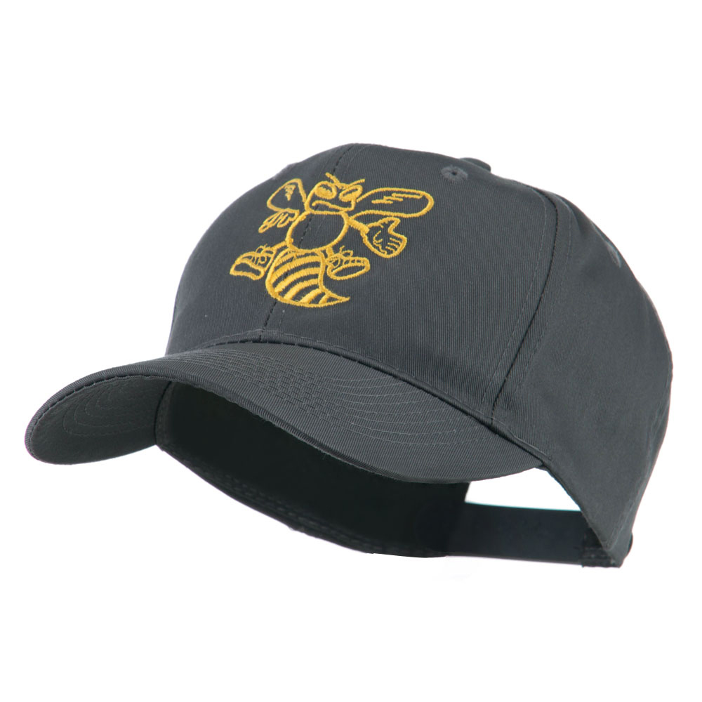 Animal Mascot Bee Outline Embroidered Cap - Charcoal - Hats and Caps Online Shop - Hip Head Gear