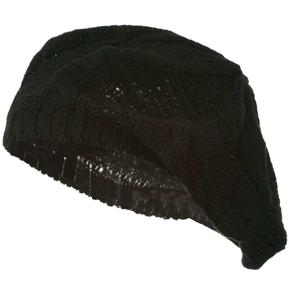 Big Cable Knitted Beret - Black - Hats and Caps Online Shop - Hip Head Gear