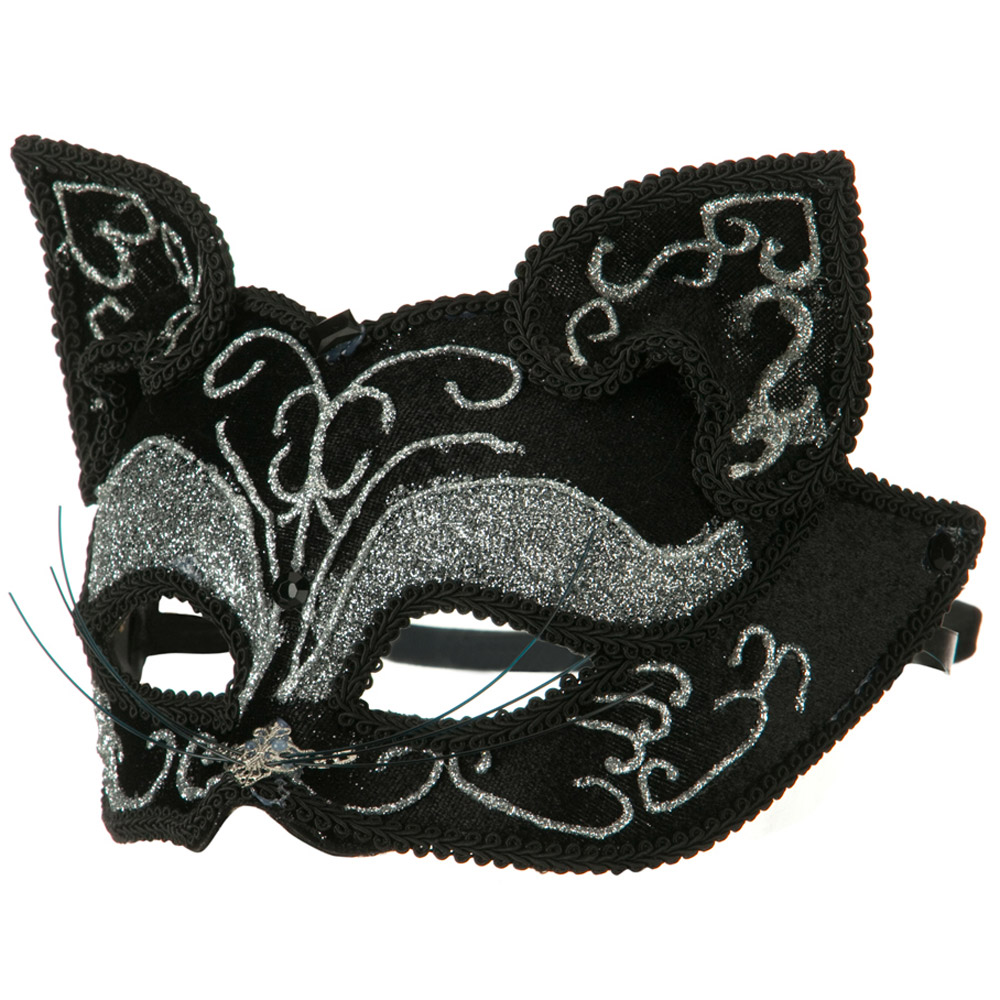 Glitter Cat Mask - Black Silver - Hats and Caps Online Shop - Hip Head Gear