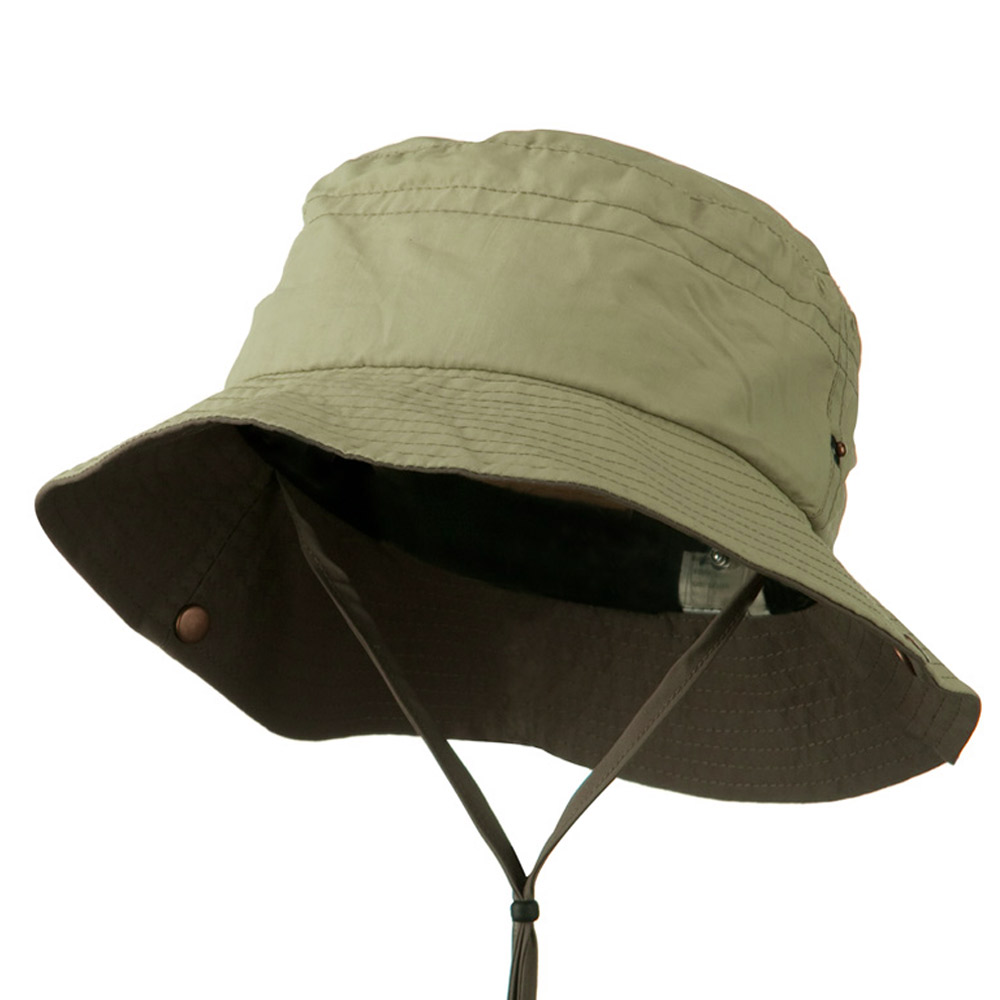 Big Size Talson UV Bucket Hat with Chin Cord - Khaki Brown - Hats and Caps Online Shop - Hip Head Gear