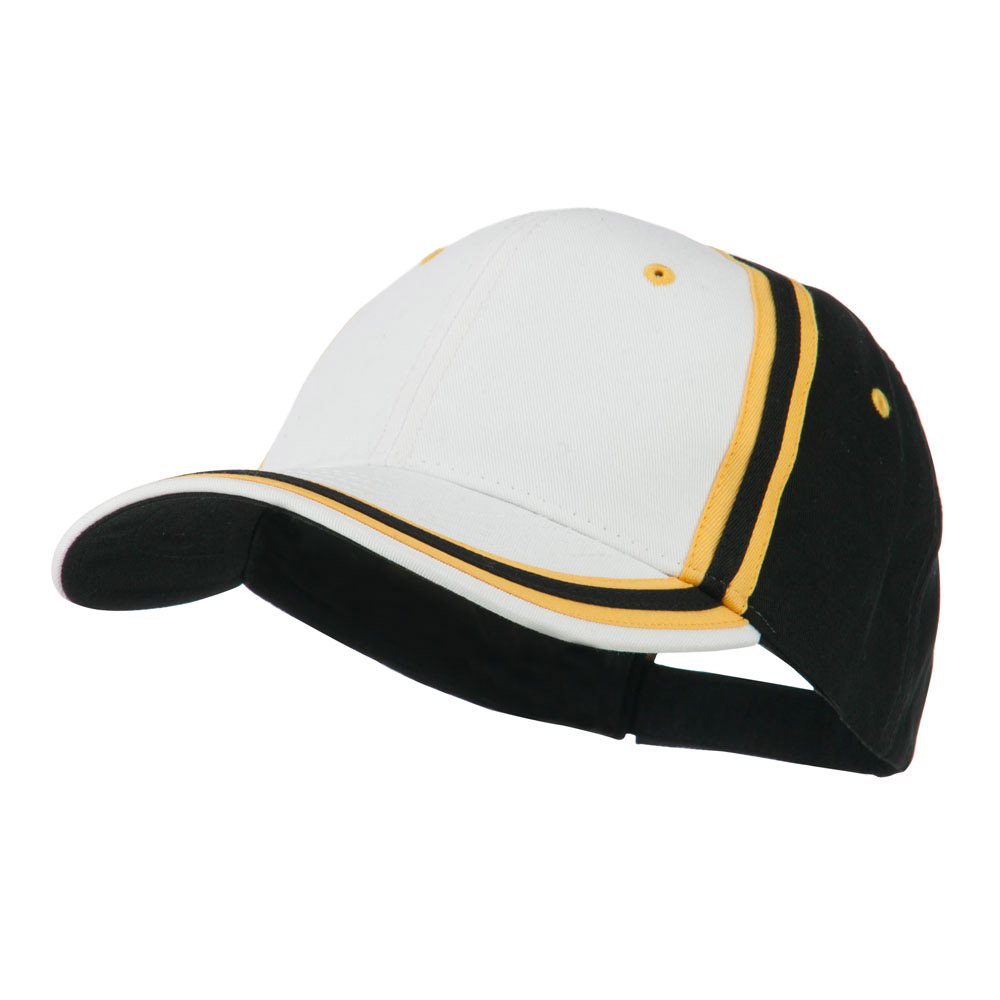 Brushed Canvas Cap - White Gold Black - Hats and Caps Online Shop - Hip Head Gear