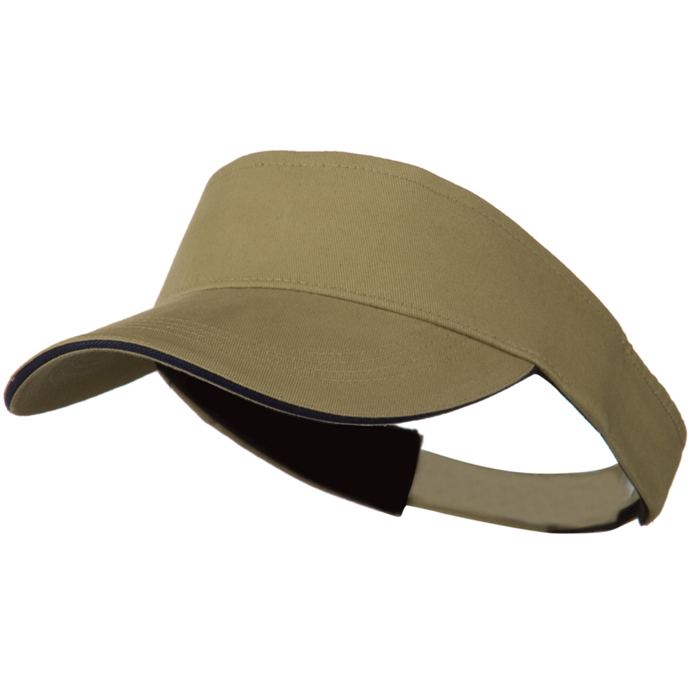 Brushed Cotton Sandwich Visor - Khaki Navy - Hats and Caps Online Shop - Hip Head Gear