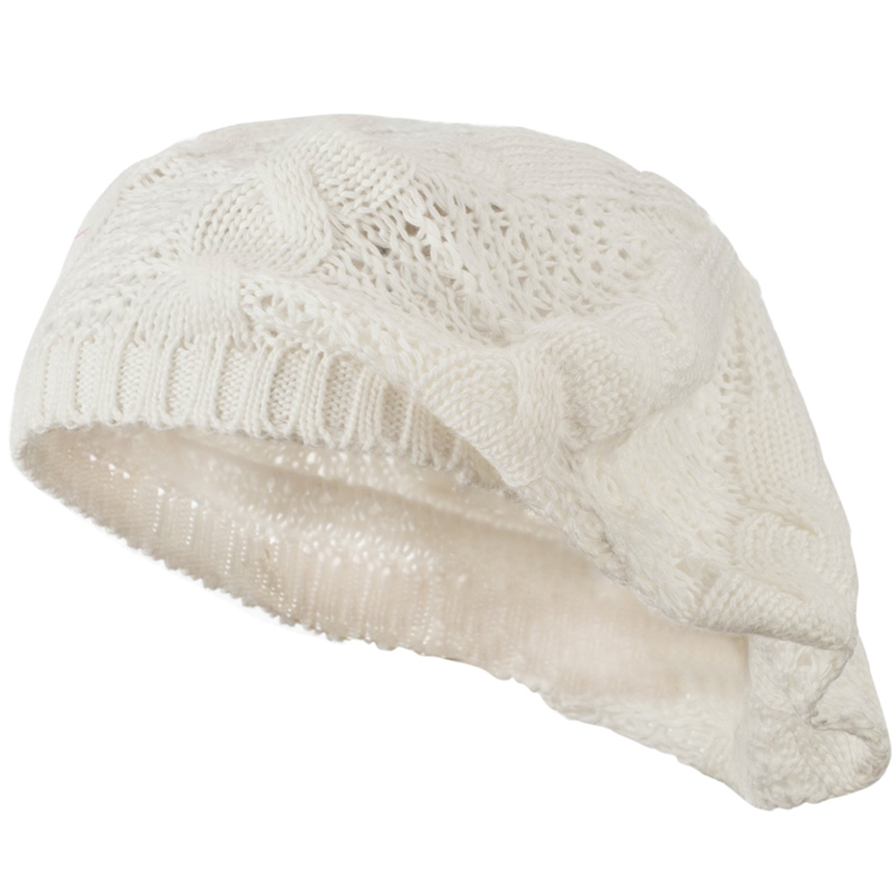 Big Cable Knitted Beret - White - Hats and Caps Online Shop - Hip Head Gear
