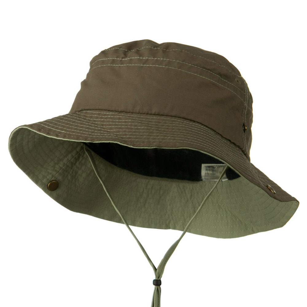 Big Size Talson UV Bucket Hat with Chin Cord - Olive Khaki - Hats and Caps Online Shop - Hip Head Gear