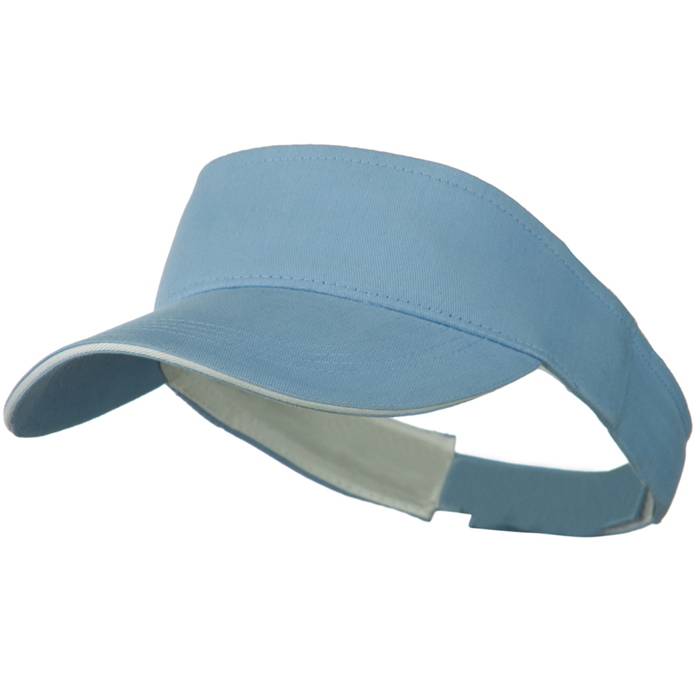 Brushed Cotton Sandwich Visor - Light Blue White - Hats and Caps Online Shop - Hip Head Gear
