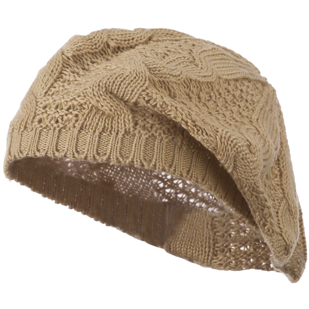 Big Cable Knitted Beret - Tan