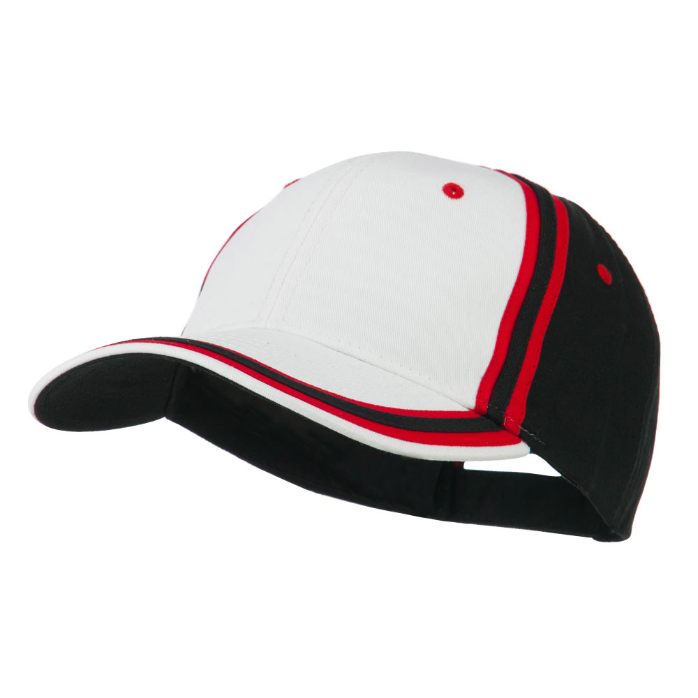 Brushed Canvas Cap - White Red Black - Hats and Caps Online Shop - Hip Head Gear