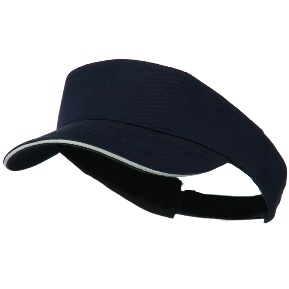 Brushed Cotton Sandwich Visor - Navy White - Hats and Caps Online Shop - Hip Head Gear