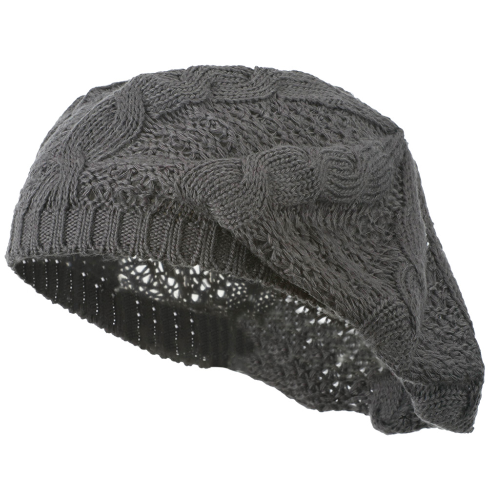 Big Cable Knitted Beret - Grey