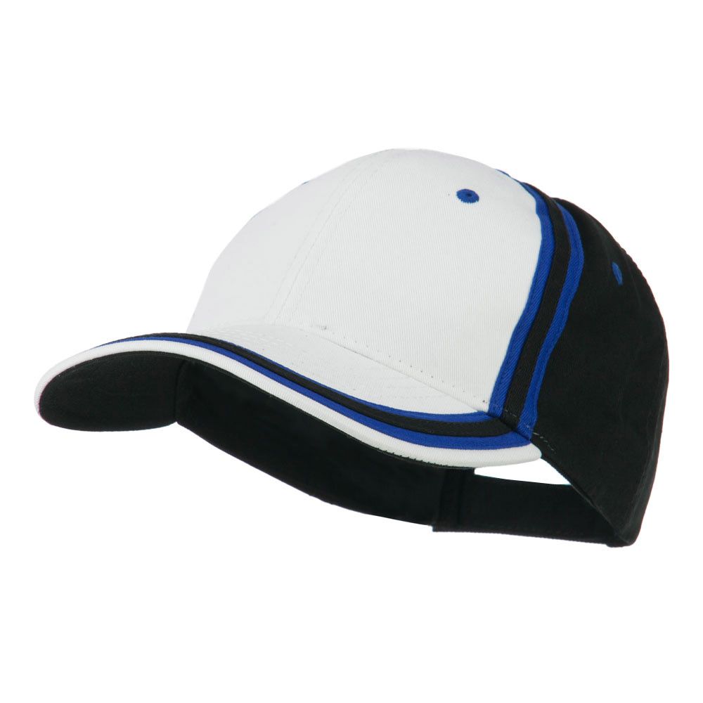 Brushed Canvas Cap - White Royal Black - Hats and Caps Online Shop - Hip Head Gear