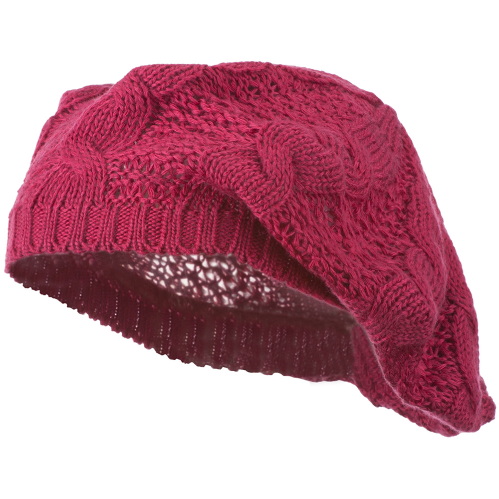 Big Cable Knitted Beret - Fuchsia - Hats and Caps Online Shop - Hip Head Gear
