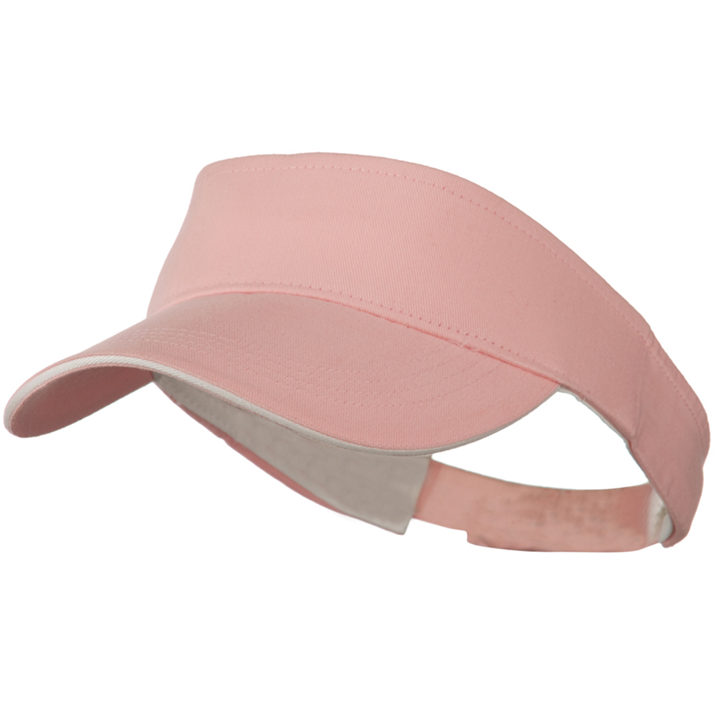 Brushed Cotton Sandwich Visor - Pink White - Hats and Caps Online Shop - Hip Head Gear