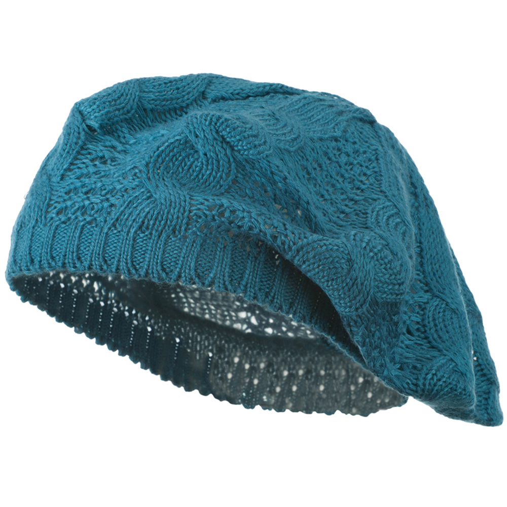 Big Cable Knitted Beret - Teal - Hats and Caps Online Shop - Hip Head Gear