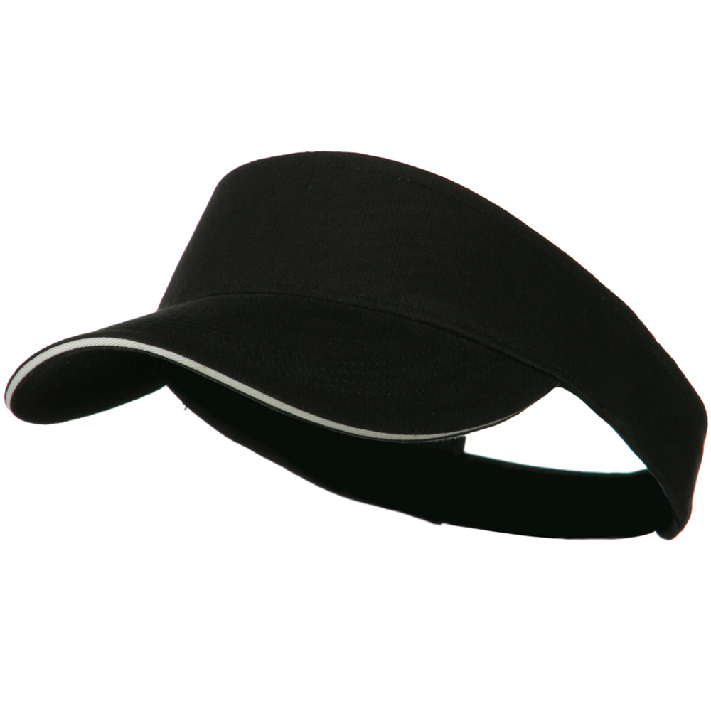 Brushed Cotton Sandwich Visor - Black White - Hats and Caps Online Shop - Hip Head Gear