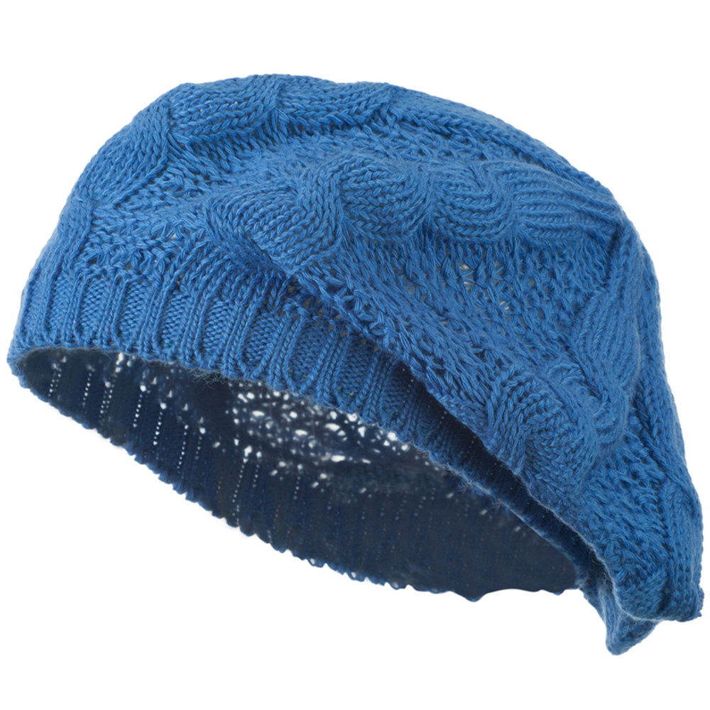 Big Cable Knitted Beret - Blue