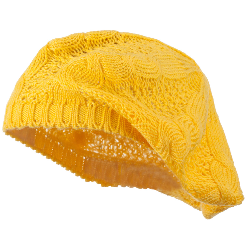 Big Cable Knitted Beret - Yellow - Hats and Caps Online Shop - Hip Head Gear