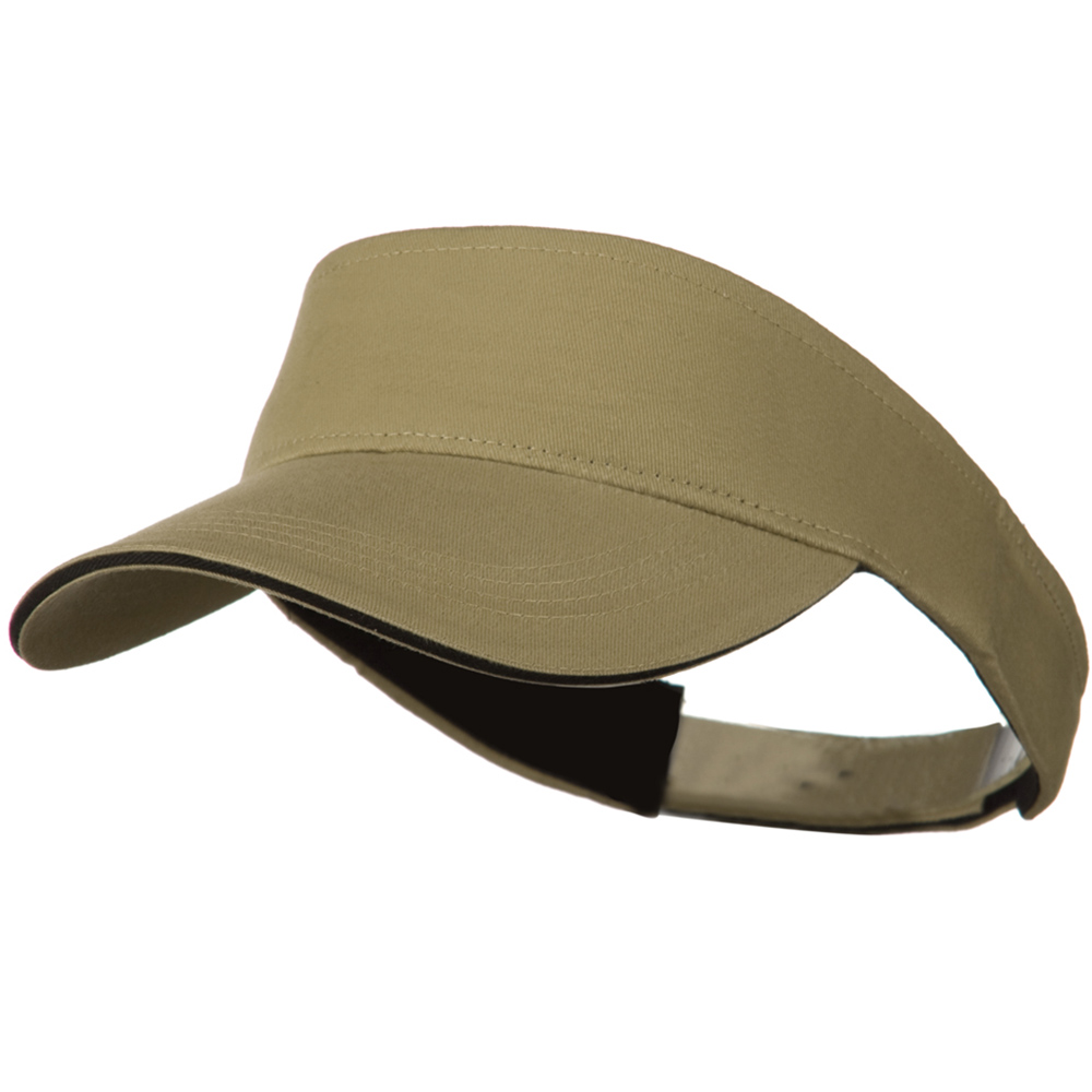 Brushed Cotton Sandwich Visor - Khaki Black - Hats and Caps Online Shop - Hip Head Gear