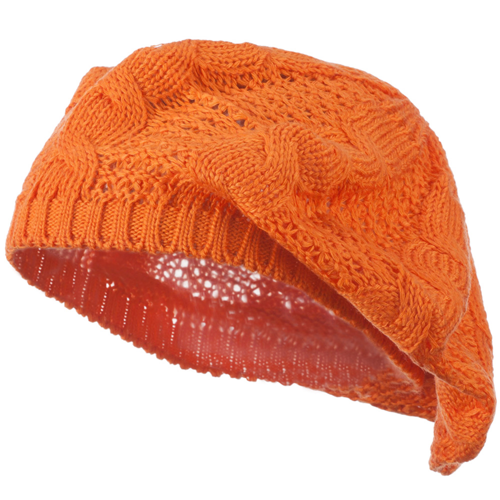 Big Cable Knitted Beret - Orange - Hats and Caps Online Shop - Hip Head Gear