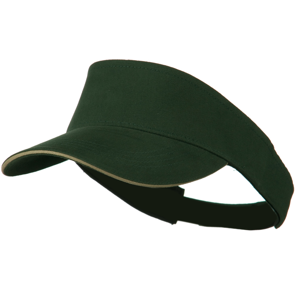 Brushed Cotton Sandwich Visor - Dark Green Khaki - Hats and Caps Online Shop - Hip Head Gear