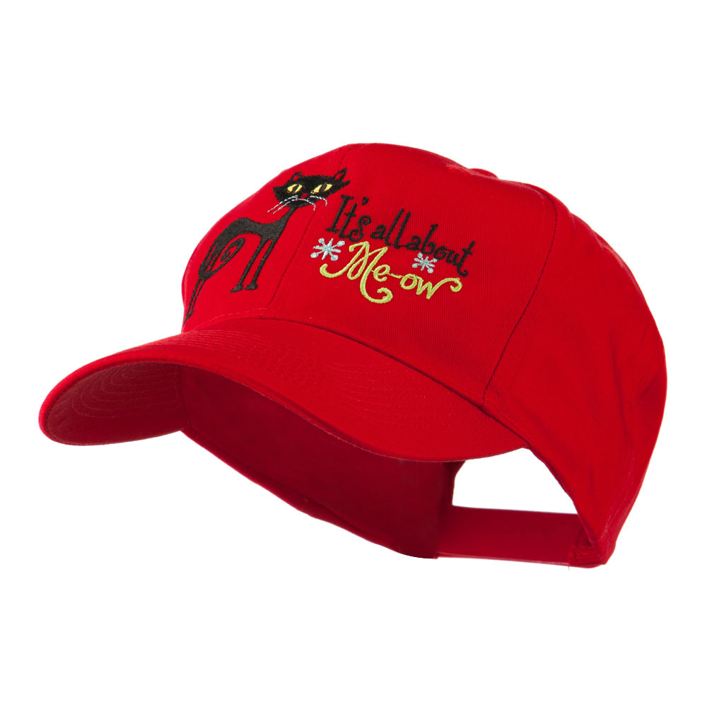 Halloween Black Cat Embroidered Cap - Red - Hats and Caps Online Shop - Hip Head Gear