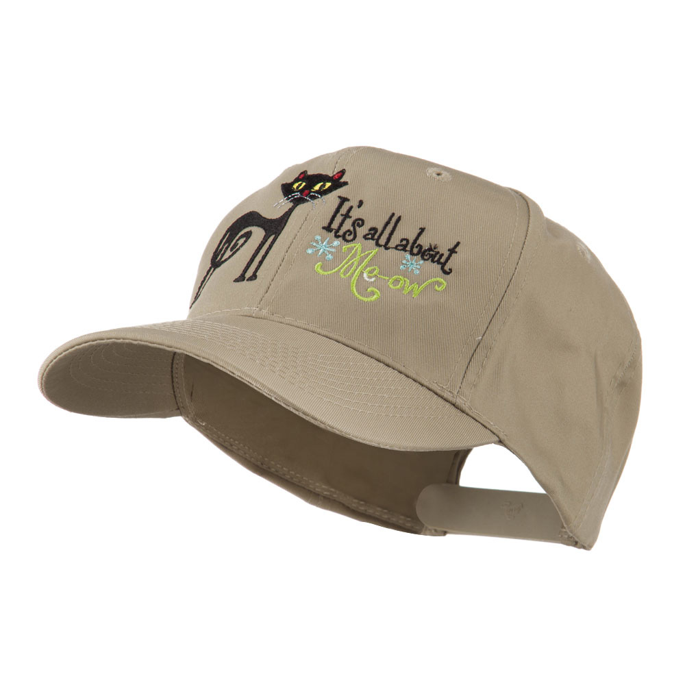 Halloween Black Cat Embroidered Cap - Khaki - Hats and Caps Online Shop - Hip Head Gear