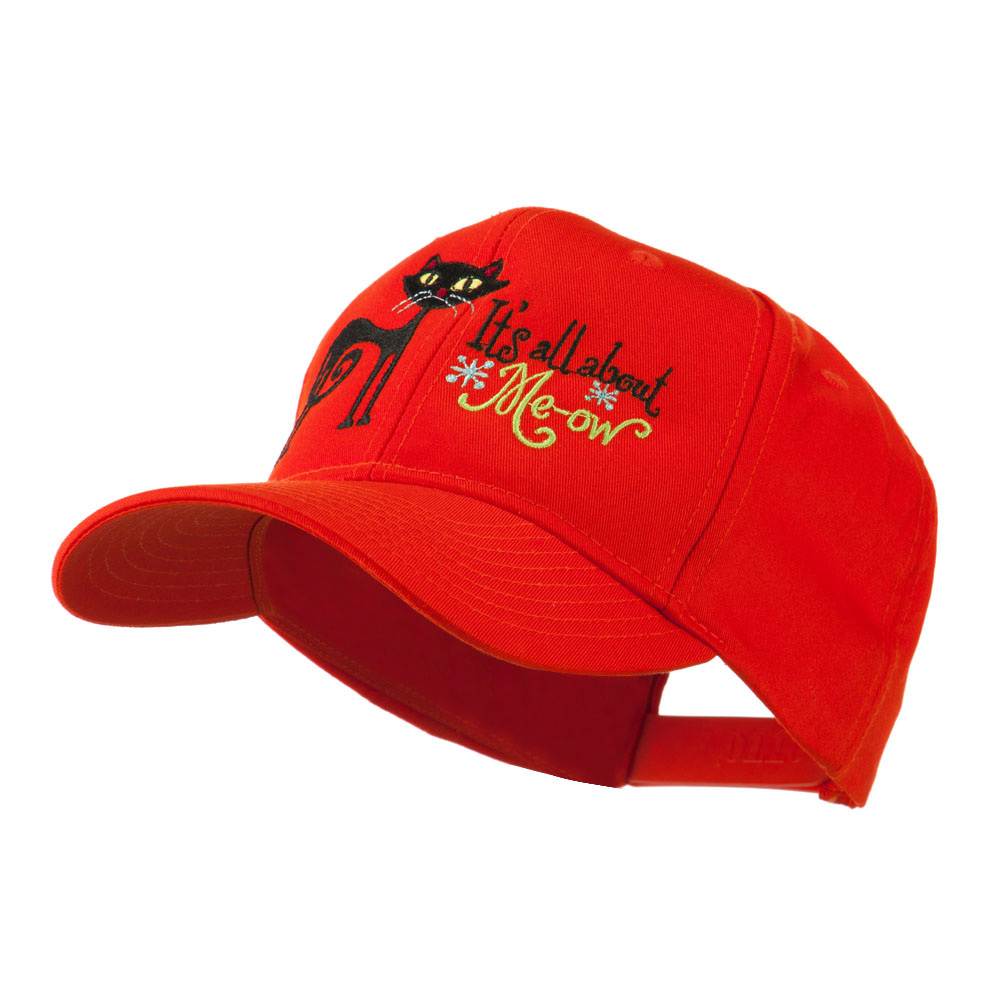 Halloween Black Cat Embroidered Cap - Orange - Hats and Caps Online Shop - Hip Head Gear