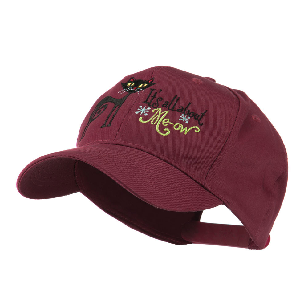 Halloween Black Cat Embroidered Cap - Maroon - Hats and Caps Online Shop - Hip Head Gear