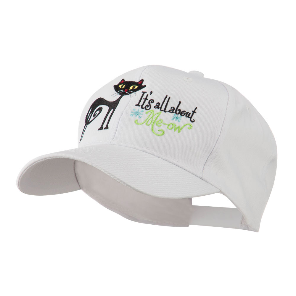 Halloween Black Cat Embroidered Cap - White - Hats and Caps Online Shop - Hip Head Gear