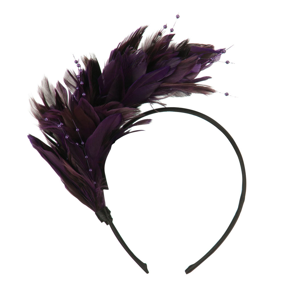 Feather and Bead Detailed Headband Fascinator - Purple - Hats and Caps Online Shop - Hip Head Gear
