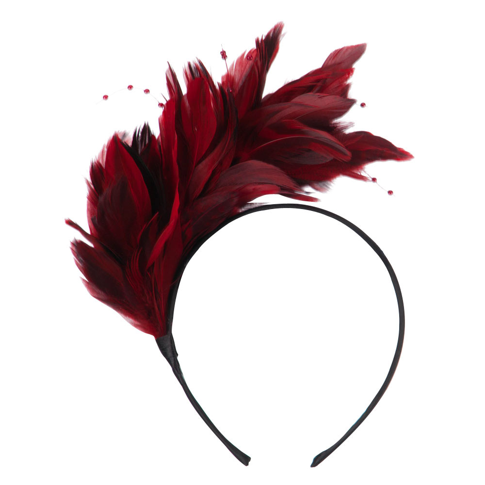 Feather and Bead Detailed Headband Fascinator - Red - Hats and Caps Online Shop - Hip Head Gear