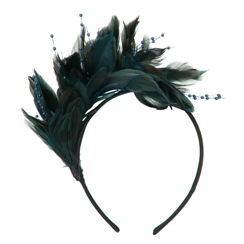 Feather and Bead Detailed Headband Fascinator - Teal - Hats and Caps Online Shop - Hip Head Gear