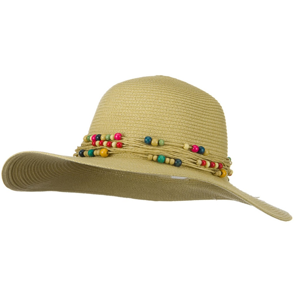 Toyo Hat with Beaded Hat Band and 4 Inch Brim - Khaki