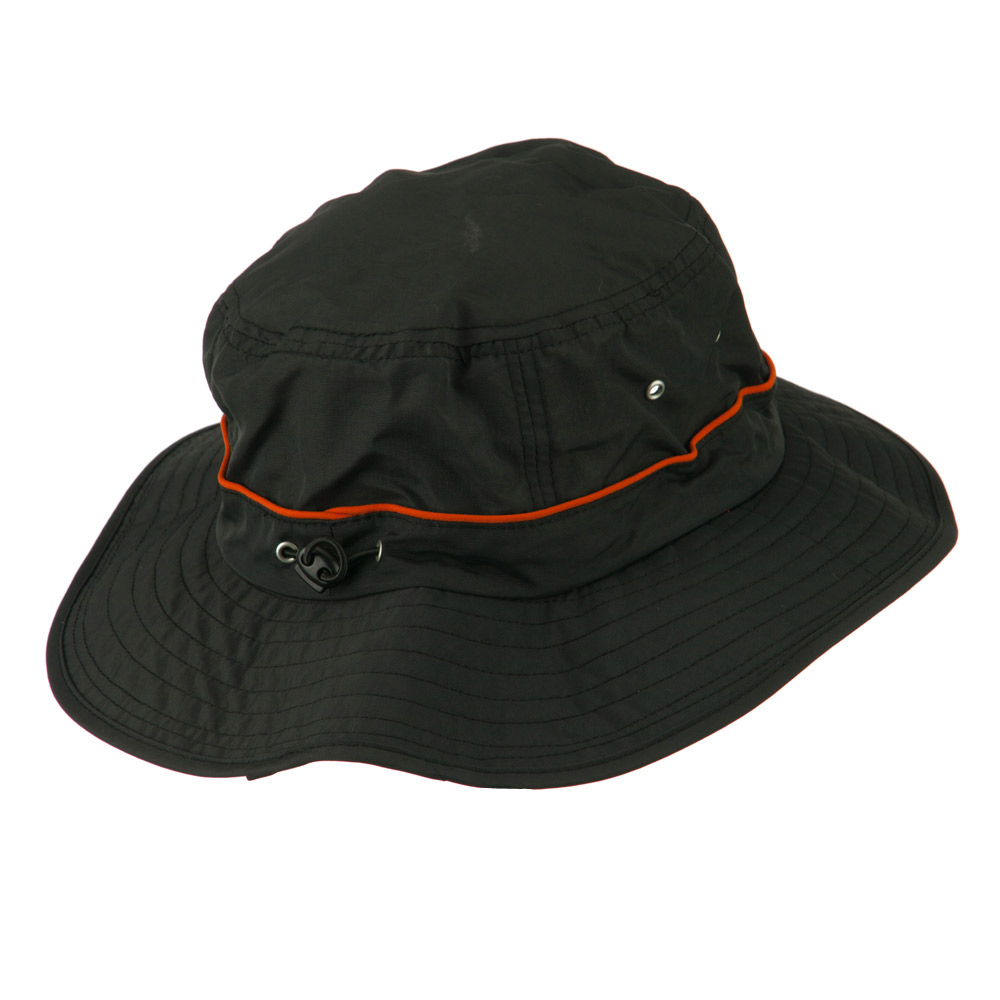 Big Size Adjustable Draw Cord Talson UV Bucket Hat - Black - Hats and Caps Online Shop - Hip Head Gear