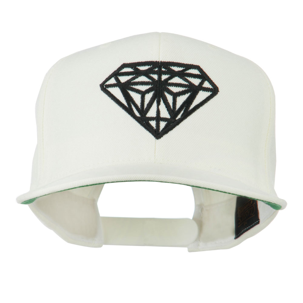 Big Diamond Embroidered Flat Bill Cap - White - Hats and Caps Online Shop - Hip Head Gear