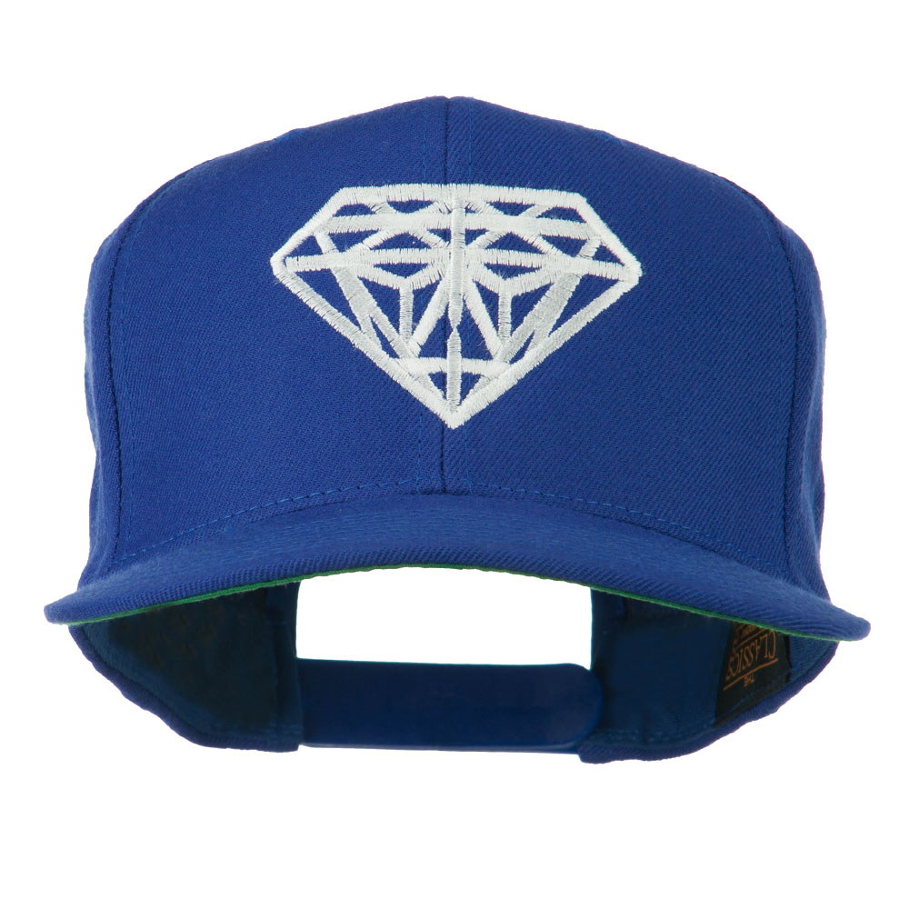 Big Diamond Embroidered Flat Bill Cap - Royal - Hats and Caps Online Shop - Hip Head Gear