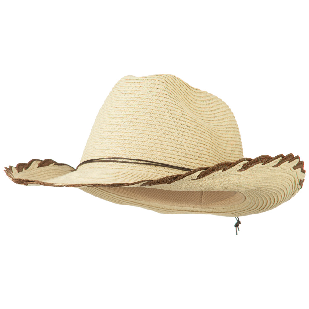 Women's  Braided Edge Cowboy Hat - Natural Brown