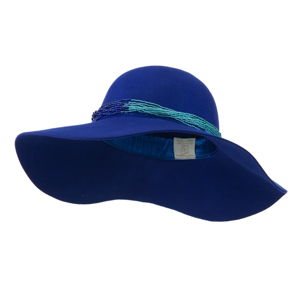 Wool Felt Hat with Beaded Trim - Blue - Hats and Caps Online Shop - Hip Head Gear