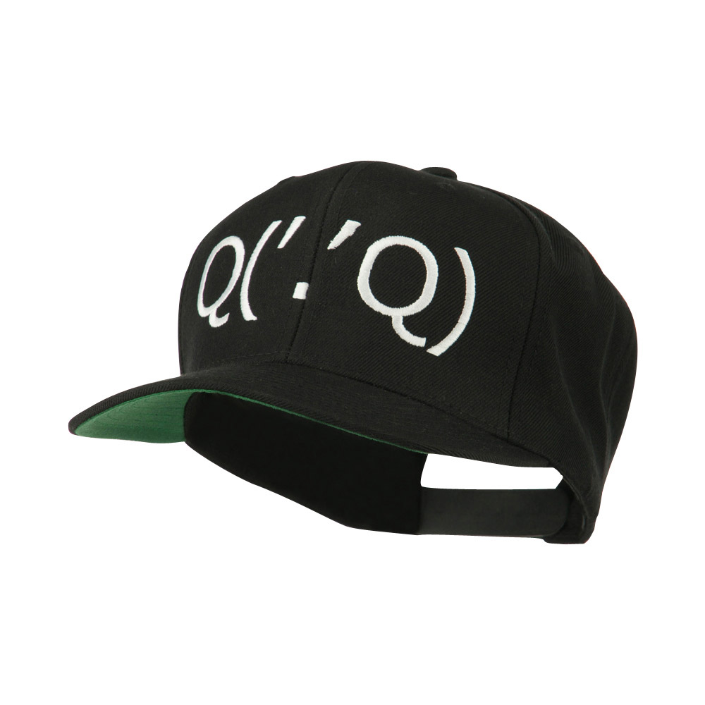 Boxing Face Emoticon Embroidered Snapback Cap - Black - Hats and Caps Online Shop - Hip Head Gear