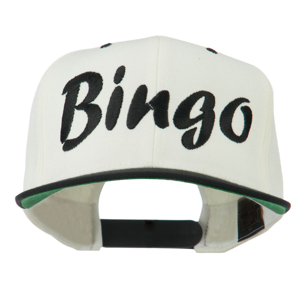 Bingo Embroidered Flat Bill Cap - Natural Black - Hats and Caps Online Shop - Hip Head Gear
