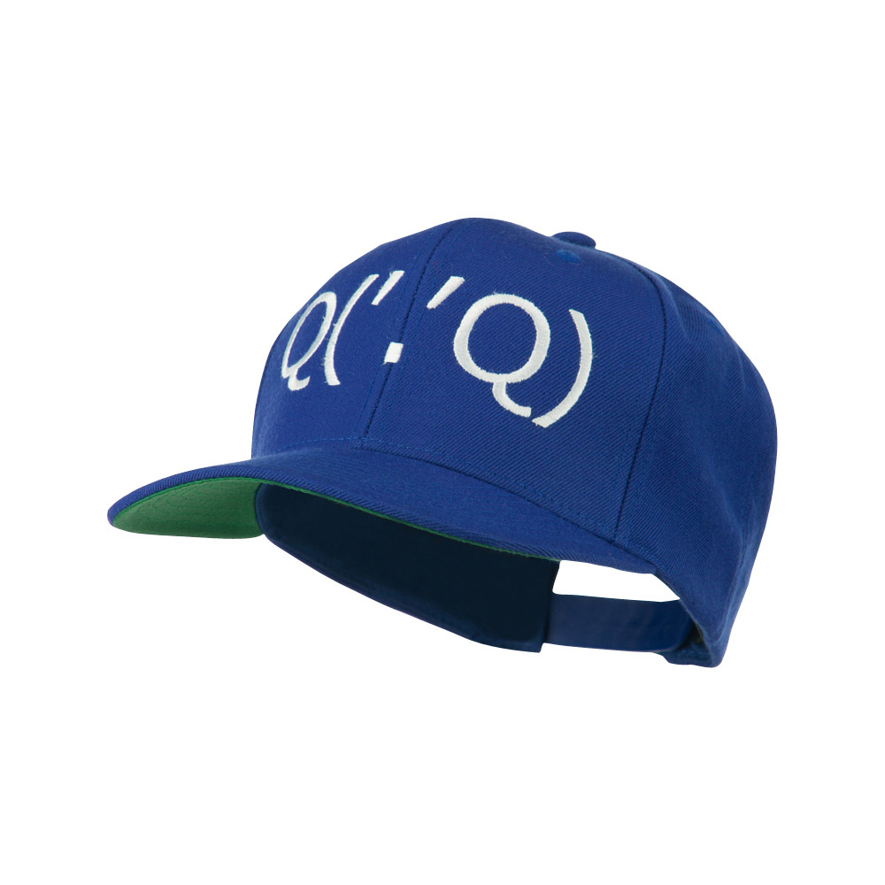 Boxing Face Emoticon Embroidered Snapback Cap - Royal - Hats and Caps Online Shop - Hip Head Gear