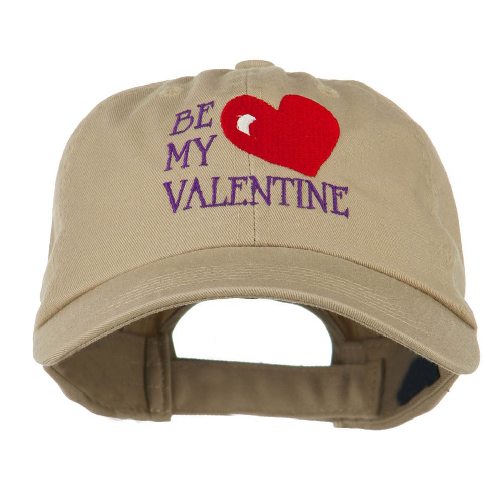 Be My Valentine Embroidery Cap - Khaki - Hats and Caps Online Shop - Hip Head Gear