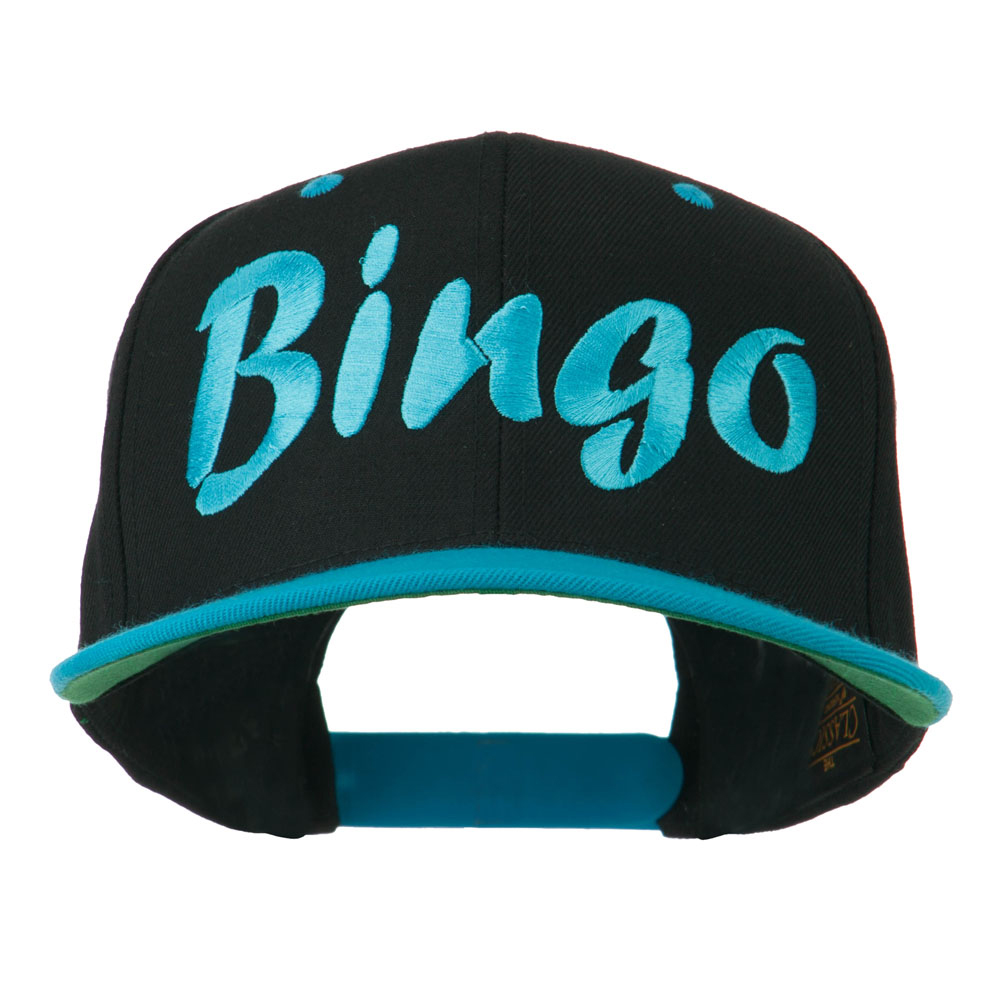 Bingo Embroidered Flat Bill Cap - Black Teal - Hats and Caps Online Shop - Hip Head Gear
