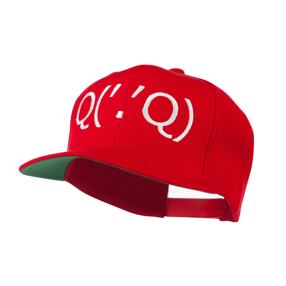 Boxing Face Emoticon Embroidered Snapback Cap - Red - Hats and Caps Online Shop - Hip Head Gear