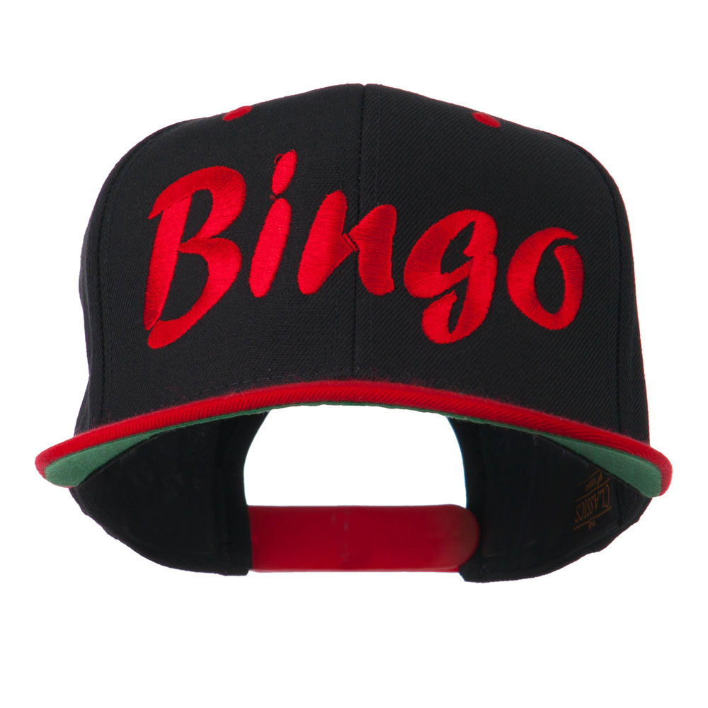 Bingo Embroidered Flat Bill Cap - Black Red - Hats and Caps Online Shop - Hip Head Gear