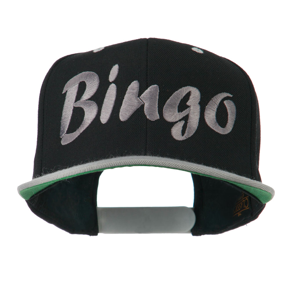 Bingo Embroidered Flat Bill Cap - Black Silver - Hats and Caps Online Shop - Hip Head Gear