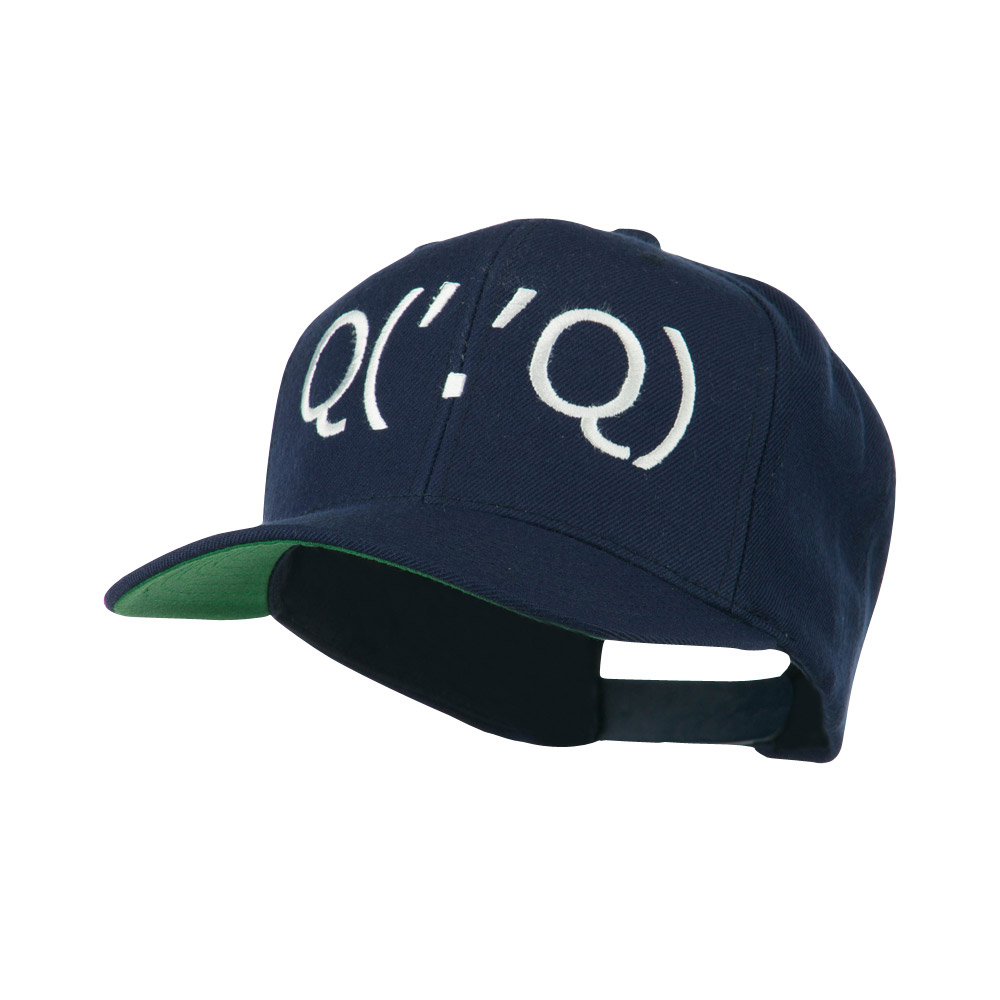 Boxing Face Emoticon Embroidered Snapback Cap - Navy - Hats and Caps Online Shop - Hip Head Gear