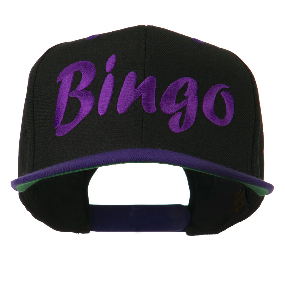 Bingo Embroidered Flat Bill Cap - Black Purple - Hats and Caps Online Shop - Hip Head Gear