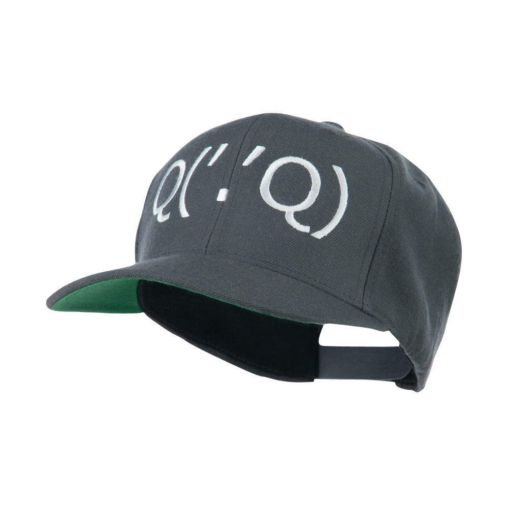 Boxing Face Emoticon Embroidered Snapback Cap - Grey - Hats and Caps Online Shop - Hip Head Gear