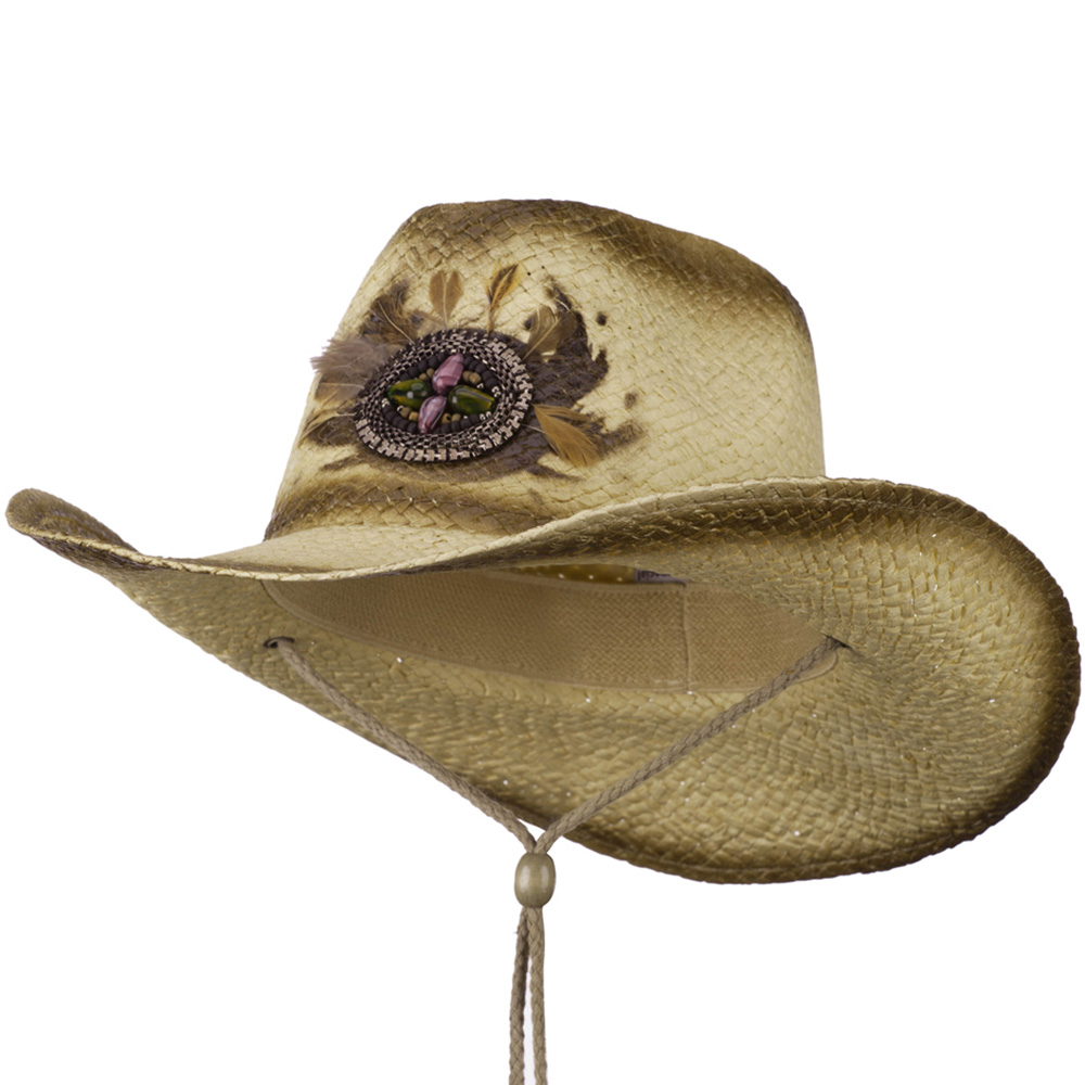 Painted Cowboy Hat with Badge and Feather - Natural Brown - Hats and Caps Online Shop - Hip Head Gear