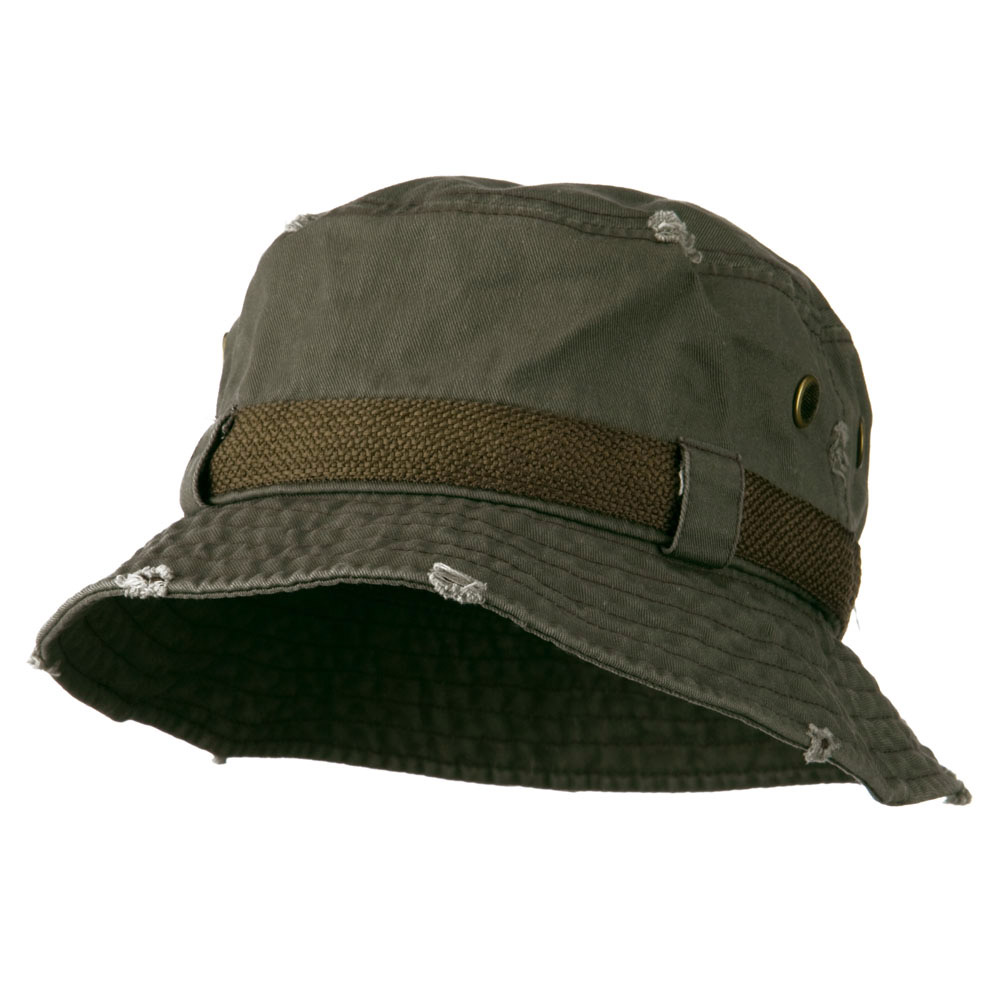 Big Size Frayed Cotton Washed Bucket Hat - Olive - Hats and Caps Online Shop - Hip Head Gear